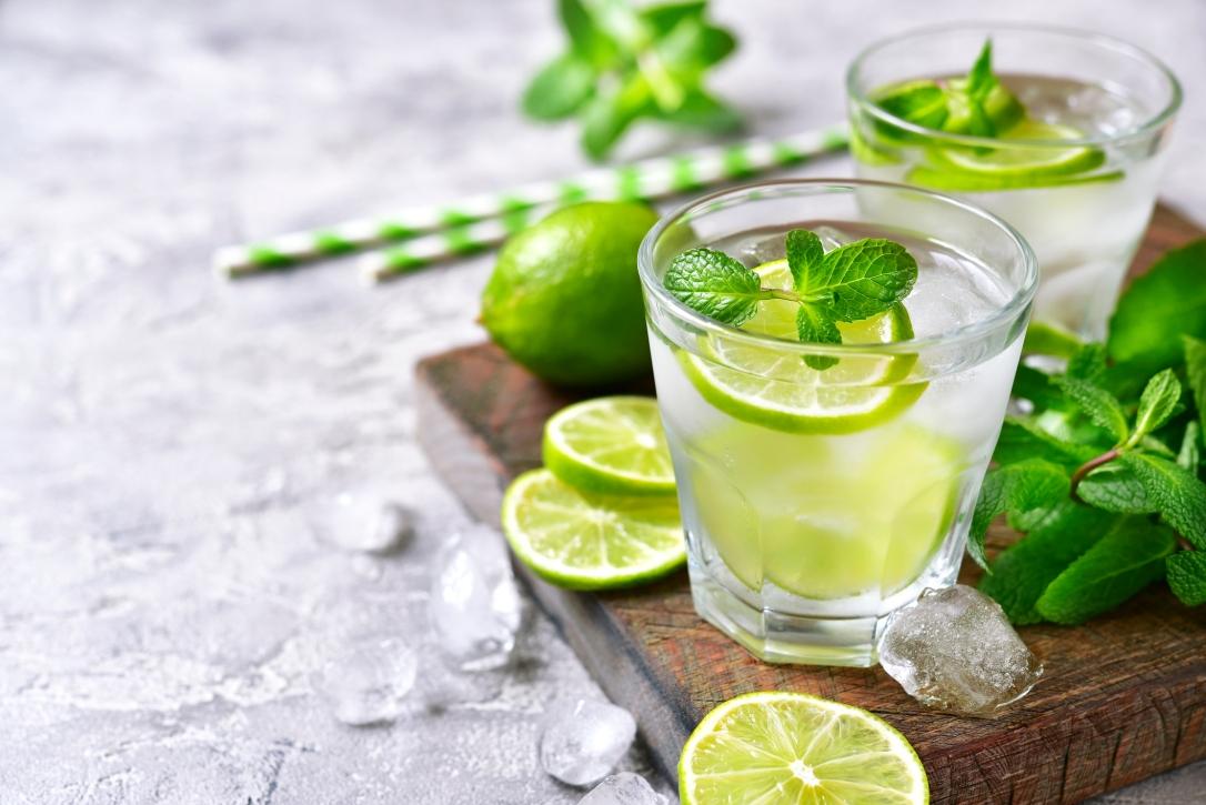 Cold refreshing summer lemonade mojito.
